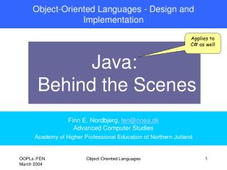 Object-Oriented Languages - Design and Implementation