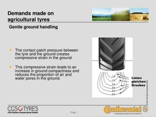 Demands made on agricultural tyres