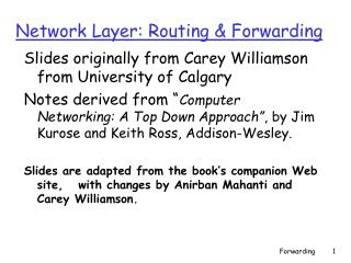 Network Layer: Routing & Forwarding