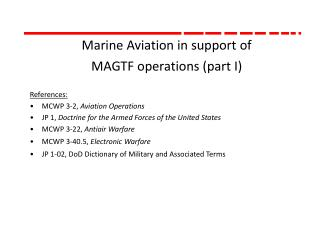 Marine Aviation in support of MAGTF operations (part I)