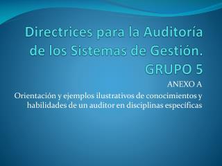 Directrices para la Auditoría de los Sistemas de Gestión. GRUPO 5