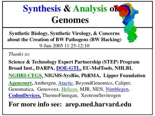 Synthesis  &  Analysis  of Genomes