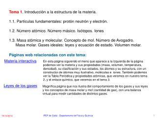 Tema 1 . Introducción a la estructura de la materia.