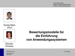 Bewertungsmodelle für die Einführung von Anwendungssystemen