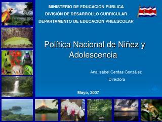MINISTERIO DE EDUCACIÓN PÚBLICA DIVISIÓN DE DESARROLLO CURRICULAR