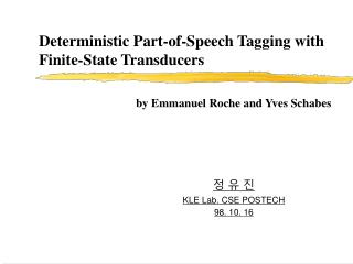 Deterministic Part-of-Speech Tagging with Finite-State Transducers