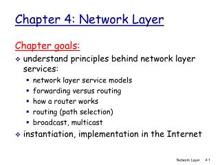 Chapter 4: Network Layer
