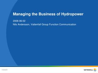 Managing the Business of Hydropower