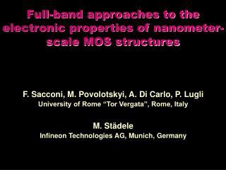 "F. Sacconi, M. Povolotskyi, A. Di Carlo, P. Lugli University of Rome ""Tor Vergata"", Rome, Italy"