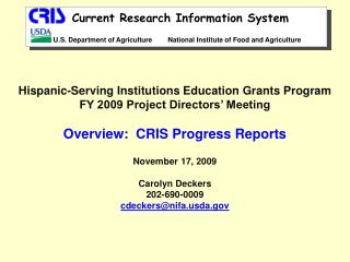 Hispanic-Serving Institutions Education Grants Program FY 2009 Project Directors' Meeting
