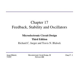 Chapter 17 Feedback, Stability and Oscillators