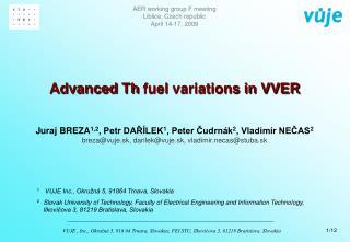Advanced  Th  fuel  variations in VVER