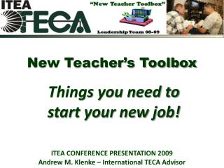 New Teacher's Toolbox