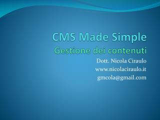 CMS  Made Simple Gestione dei contenuti