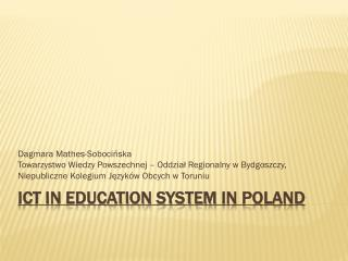 ICT in Education System  in poland