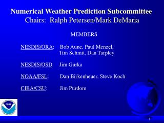 Numerical Weather Prediction Subcommittee  Chairs:  Ralph Petersen/Mark DeMaria