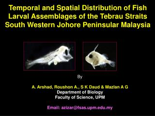 By A. Arshad, Roushon A., S K Daud & Mazlan A G  Department of Biology Faculty of Science, UPM