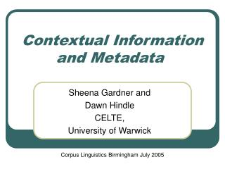 Contextual Information and Metadata