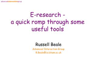 E-research - a quick romp through some useful tools