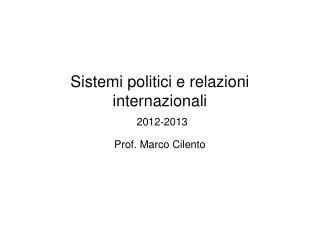 Sistemi politici e relazioni internazionali 2012-2013