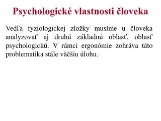 Psychologické vlastnosti človeka