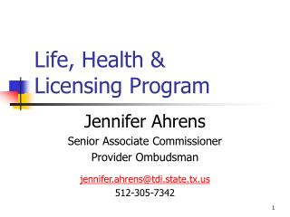 Life, Health  Licensing Program
