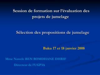 Sélection des propositions de jumelage