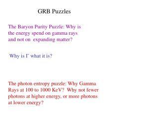 GRB Puzzles
