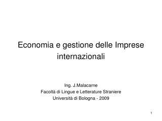 Economia e gestione delle Imprese internazionali
