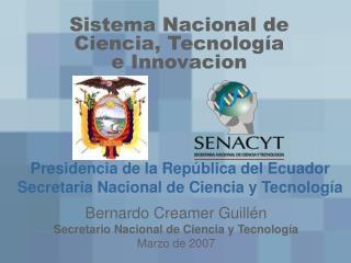 Sistema Nacional de Ciencia, Tecnolo gía e Innovacion