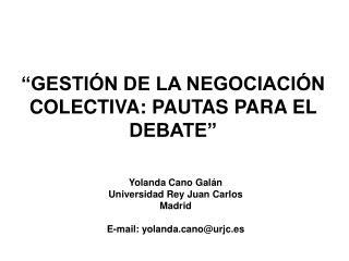 Yolanda Cano Galán Universidad Rey Juan Carlos Madrid E-mail: yolandano@urjc.es