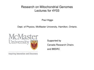 Research on Mitochondrial Genomes Lectures for 4Y03