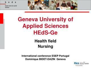 Geneva University of Applied Sciences HEdS-Ge