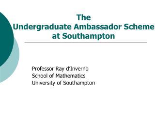 The  Undergraduate Ambassador Scheme at Southampton