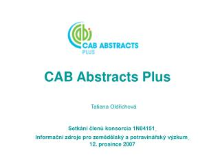 CAB Abstracts Plus