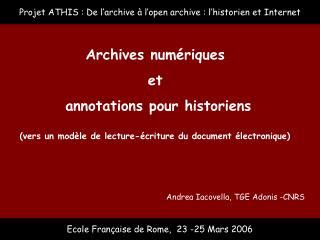 Ecole Française de Rome,  23 -25 Mars 2006
