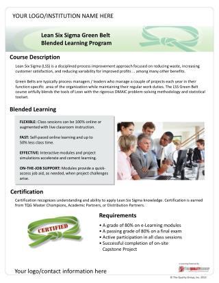 Lean Six  Sigma  Green  Belt Blended Learning Program