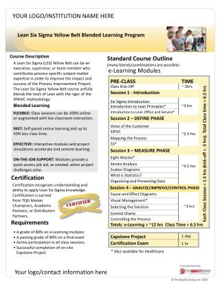 Lean Six Sigma  Yellow Belt Blended  Learning Program