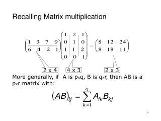 Recalling Matrix multiplication