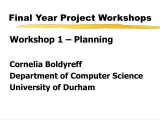 Final Year Project Workshops