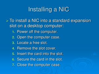 Installing a NIC