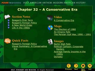 Chapter 32 – A Conservative Era