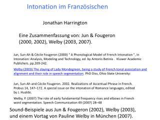 Intonation im Französischen
