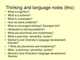 Thinking and language notes (9nc)
