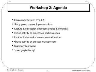 Workshop 2: Agenda
