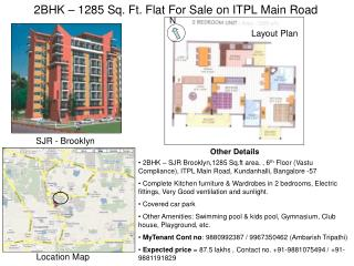 2BHK – 1285 Sq. Ft. Flat For Sale on ITPL Main Road