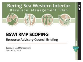 BSWI RMP SCOPING  Resource Advisory Council Briefing Bureau of Land Management October 28, 2013