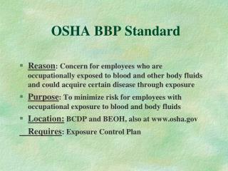 OSHA BBP Standard