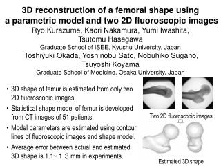 3D reconstruction of a femoral shape using  a parametric model and two 2D fluoroscopic images