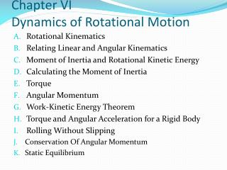 Chapter VI Dynamics of Rotational Motion